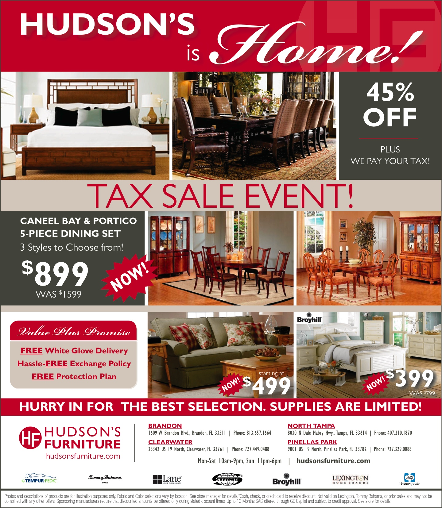 Tax sale event 45 off we pay your tax for Furnisher sale